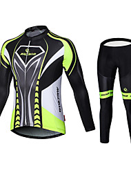 cheap -Malciklo Men's Long Sleeve Cycling Jersey with Tights Winter Fleece Velvet Lycra British Bike Jersey Bib Tights Clothing Suit Fleece Lining Breathable 3D Pad Quick Dry Back Pocket Sports Classic