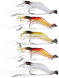 cheap -5Pcs Lot 9Cm 6G Soft Fishing Lure Shrimp Luminous Artificial Bait With Swivel 3 Colors Fishing Lures Baits
