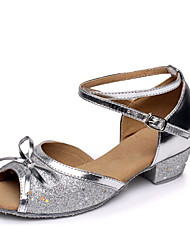 cheap -Women's Dance Shoes Paillette Latin Shoes Bowknot / Sparkling Glitter Flat Low Heel Non Customizable Silver / Fuchsia / Blue / Performance / Leather