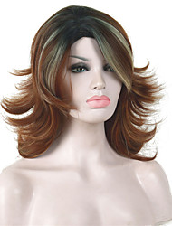 cheap -Synthetic Wig Curly Curly Layered Haircut Wig Medium Length Auburn Synthetic Hair Women's Ombre Hair Red StrongBeauty