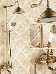 cheap -Shower System Set - Rainfall Antique Antique Copper Shower System Ceramic Valve Bath Shower Mixer Taps / Brass / Two Handles Three Holes