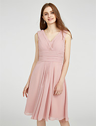 cheap -A-Line V Neck Knee Length Chiffon Bridesmaid Dress with Side Draping / Criss Cross / Ruched