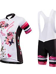 cheap -Malciklo Women's Short Sleeve Cycling Jersey with Bib Shorts White Floral Botanical Plus Size Bike Jersey Bib Tights Breathable Quick Dry Anatomic Design Reflective Strips Back Pocket Sports