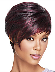 cheap -Synthetic Wig Straight Straight Bob Short Bob With Bangs Wig Dark Wine Synthetic Hair Women's Heat Resistant Ombre Hair Ombre