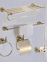 Недорогие -Набор аксессуаров для ванной Античный Латунь 5 шт. - Гостиничная ванна Держатели для туалетной бумаги / распорка / кольцо башни