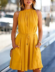 cheap -Women's Daily Going out Club Casual Street chic Sheath Swing Dress - Solid Colored Pleated Spring Yellow L XL XXL