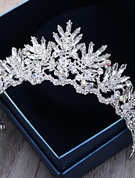 cheap -Crystal Rhinestone Alloy Royal Crown Tiaras Headbands Headwear with Floral 1pc Wedding Special Occasion Outdoor Headpiece Hair Pin