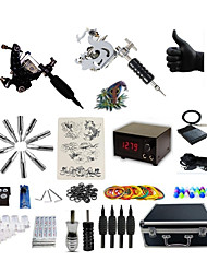 cheap -BaseKey Tattoo Machine Professional Tattoo Kit - 2 pcs Tattoo Machines LCD power supply Case Included 2 steel machine liner & shader