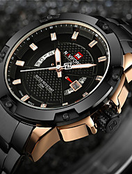 cheap -NAVIFORCE Men's Sport Watch Military Watch Wrist Watch Japanese Quartz Stainless Steel Black / Silver 30 m Water Resistant / Waterproof Calendar / date / day Creative Analog Charm Luxury Vintage