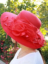 Недорогие -Жен. Kentucky Derby Праздник Панама Шляпа от солнца-Плиссировка Полиэстер Сетка,Однотонный Весна Лето Розовый Красный Оранжевый / Очаровательный / Ткань