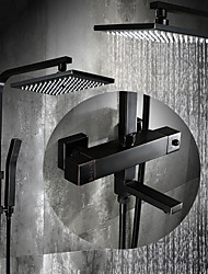 cheap -Shower System Set - Rainfall Antique Oil-rubbed Bronze Shower System Ceramic Valve Bath Shower Mixer Taps / Brass / Two Handles Three Holes