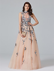 cheap -A-Line High Neck Floor Length Tulle Sparkle & Shine / Beautiful Back / See Through Cocktail Party / Prom / Formal Evening Dress with Sequin / Appliques / Crystals 2020 / Celebrity Style