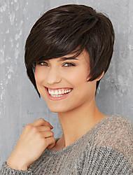 cheap -Human Hair Capless Wigs Human Hair Straight With Bangs Side Part Short Machine Made Wig Women's