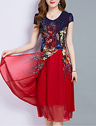 cheap -Women's Plus Size Red Royal Blue Dress Summer Going out Chiffon Floral Print Layered Print M L