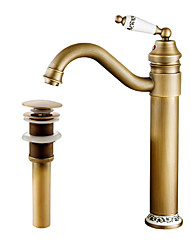 cheap -Faucet Set - Pre Rinse / Widespread / Rotatable Antique Copper Centerset Single Handle One HoleBath Taps