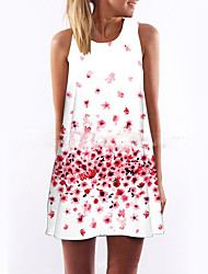 cheap -Mini Dress Summer Women's Daily Holiday Going out Street chic Sheath Dress Floral White M L XL