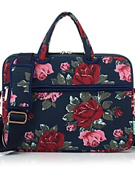 "cheap -13.3"" 14"" 15.6"" Shoulder Messenger Bag Briefcase Handbags Canvas Flower Pattern for Macbook/Surface/HP/Dell/Samsung/Sony Etc"