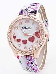 Недорогие -Женские Модные часы Китайский Кварцевый Кожа Группа Цветы С подвесками Разноцветный