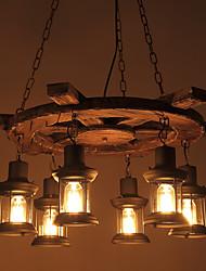 Недорогие -6-Light 73 cm Мини Подвесные лампы Дерево / бамбук Стекло промышленные Окрашенные отделки Ретро 110-120Вольт / 220-240Вольт