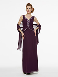 cheap -Sheath / Column Mother of the Bride Dress Wrap Included V Neck Ankle Length Chiffon Sleeveless with Pleats Beading 2021