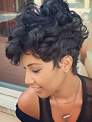 cheap -Human Hair Capless Wigs Human Hair Curly Pixie Cut / Short Hairstyles 2019 / With Bangs Halle Berry Hairstyles Side Part / African American Wig / DIY-Prevailing-Comfortable Black Short Machine Made