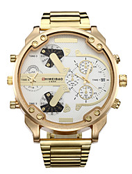 cheap -Men's Sport Watch Military Watch Wrist Watch Quartz Calendar / date / day Dual Time Zones Cool Stainless Steel Band Analog Luxury Vintage Casual Gold - Gold / White