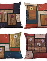 cheap -4 pcs Linen Natural / Organic Pillow Cover Pillow Case, Solid Colored Textured Modern Contemporary Office / Business Traditional / Classic