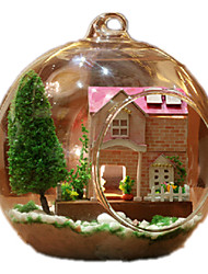 cheap -Dollhouse Model Building Kit Sphere Wood Glass Pieces Unisex Gift