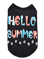cheap -Dog Shirt / T-Shirt Vest Dog Clothes Letter & Number Black Cotton Costume For Spring &  Fall Summer Men's Women's Party Cosplay Holiday
