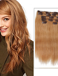 cheap -Clip In Human Hair Extensions Straight Human Hair Human Hair Extensions Women's Strawberry Blonde
