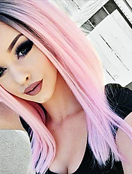 cheap -t1b pink lace front wigs synthetic ombre straight hair for woman heat resistant fiber hair wigs