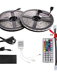 Недорогие -Комплект светодиодных лент dc12v 5050 водонепроницаемый (10 м) 600 светодиодов 10 мм RGB 60 светодиодов / м с 44-клавишным контроллером и 12v6a блоком питания (в подарок 2 шт. 5050