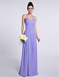 cheap -Sheath / Column Spaghetti Strap Floor Length Chiffon Bridesmaid Dress with Criss Cross / Open Back