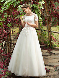 cheap -A-Line Wedding Dresses Bateau Neck Floor Length Tulle Short Sleeve with Beading Appliques Flower 2021