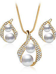 cheap -Women's Crystal Jewelry Set Pendant Necklace / Earrings Drop Ladies Luxury Dangling Pearl Fashion Bridal Crystal Imitation Pearl Rhinestone Earrings Jewelry Gold For Christmas Gifts Wedding Party