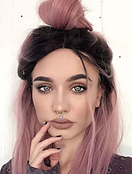 cheap -Synthetic Lace Front Wig Straight Straight Bob Lace Front Wig Short Pink Synthetic Hair Women's Middle Part Bob Ombre Hair Dark Roots Brown / Natural Hairline / Natural Hairline