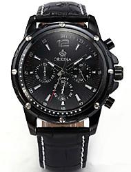 cheap -Men's Fashion Watch Quartz Leather Black Analog Black