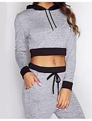 cheap -Women's Streetwear Fashion Black Light Grey Cotton Yoga Hoodie Top Long Sleeve Sport Activewear Inelastic