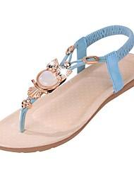 cheap -Women's Sandals Flat Heel Round Toe Rhinestone / Animal Print / Hollow-out Fabric T-Strap Walking Shoes Spring / Summer Black / Beige / Blue / EU42