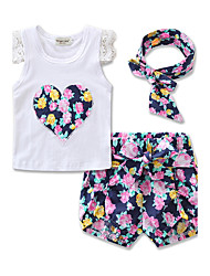 cheap -Toddler Girls' Floral Lace Bow Daily Sports Formal Floral Print Short Sleeve Regular Regular Clothing Set Purple