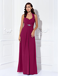 cheap -Sheath / Column Halter Neck Floor Length Chiffon Bridesmaid Dress with Beading / Draping / Criss Cross / Open Back