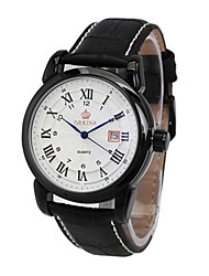 cheap -Men's Fashion Watch Mechanical Watch Quartz Automatic self-winding Leather Black / Silver 30 m Analog White Black