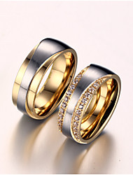 cheap -Women's Couple Rings spinning ring Groove Rings AAA Cubic Zirconia Synthetic Diamond Golden Zircon Titanium Steel Gold Plated Ladies Bridal Wedding Anniversary Jewelry Love Friendship