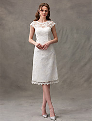 cheap -A-Line Jewel Neck Knee Length Floral Lace Cap Sleeve Casual See-Through / Backless Wedding Dresses with Lace / Draping 2020 / Illusion Sleeve