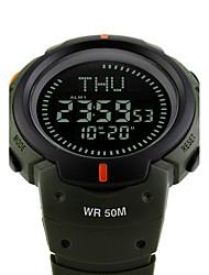 cheap -SKMEI Men's Sport Watch Military Watch Wrist Watch Japanese Digital Silicone Black / Green 50 m Water Resistant / Waterproof Alarm Calendar / date / day Digital Fashion - Black Green Two Years