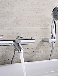 cheap -Bathtub Faucet - Contemporary Chrome Wall Mounted Ceramic Valve Bath Shower Mixer Taps / Two Handles Two Holes