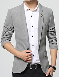 cheap -Men's Daily / Work Spring / Fall Plus Size Regular Blazer, Solid Colored V Neck Long Sleeve Cotton / Acrylic Blue / Black / Gray