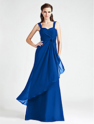 cheap -A-Line / Ball Gown Straps Floor Length Chiffon Bridesmaid Dress with Criss Cross / Ruched / Flower