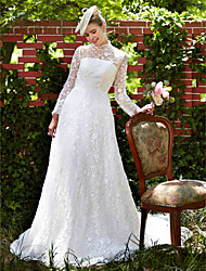 cheap -A-Line Wedding Dresses Illusion Neck Court Train All Over Lace Long Sleeve Floral Lace with Lace 2020