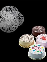 cheap -4Pcs/Set   Eco Friendly High Quality 4 Styles Flower Heart Spray Stencils Birthday Cake Mold Decorating Bakery Tools DIY